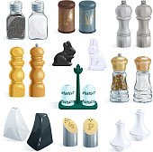Salt shaker vector design pepper bottle glass container and wood