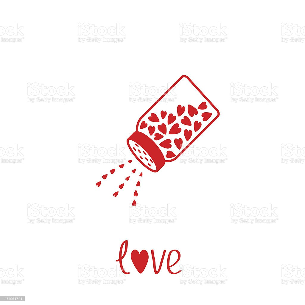 Salt shaker with hearts inside. Card vector art illustration