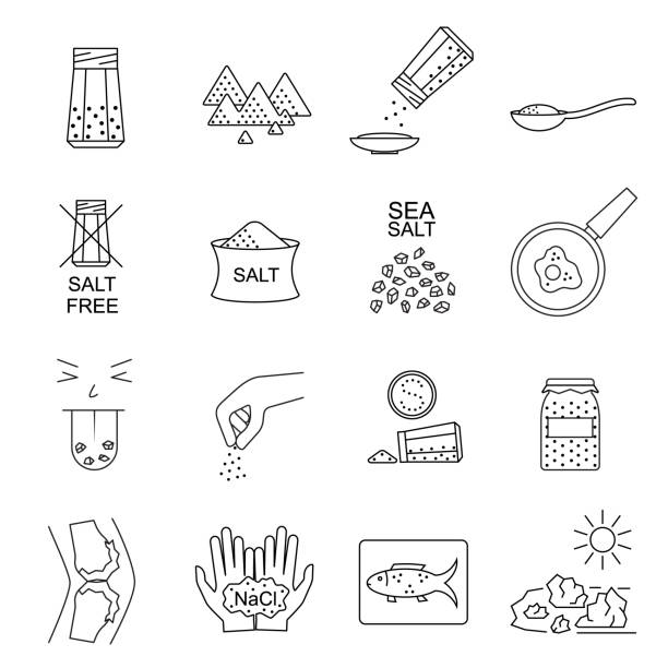 Salt Signs Black Thin Line Icon Set. Vector Salt Signs Black Thin Line Icon Set Include of Spoon, Sprinkle Hand, Saltcellar and Fish. Vector illustration of Icons salt stock illustrations