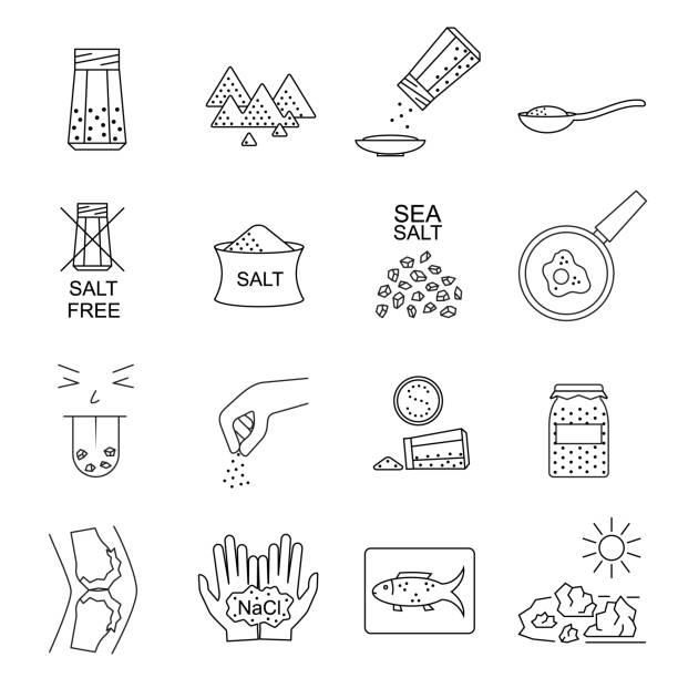 Salt Signs Black Thin Line Icon Set. Vector Salt Signs Black Thin Line Icon Set Include of Spoon, Sprinkle Hand, Saltcellar and Fish. Vector illustration of Icons salt seasoning stock illustrations