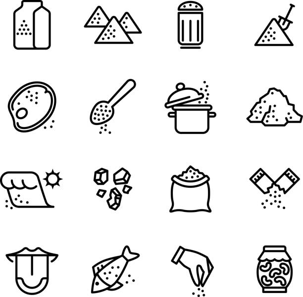 Salt vector line icons set Salt vector line icons set. Illustration of salt icon for cook meat and fish salt stock illustrations
