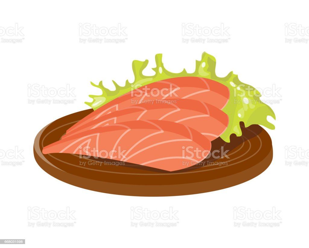 Salted red fish slice on wooden board fresh meat plate healthy fillet meal dinner vector and gourmet food diet ingredient portion prepared illustration vector art illustration
