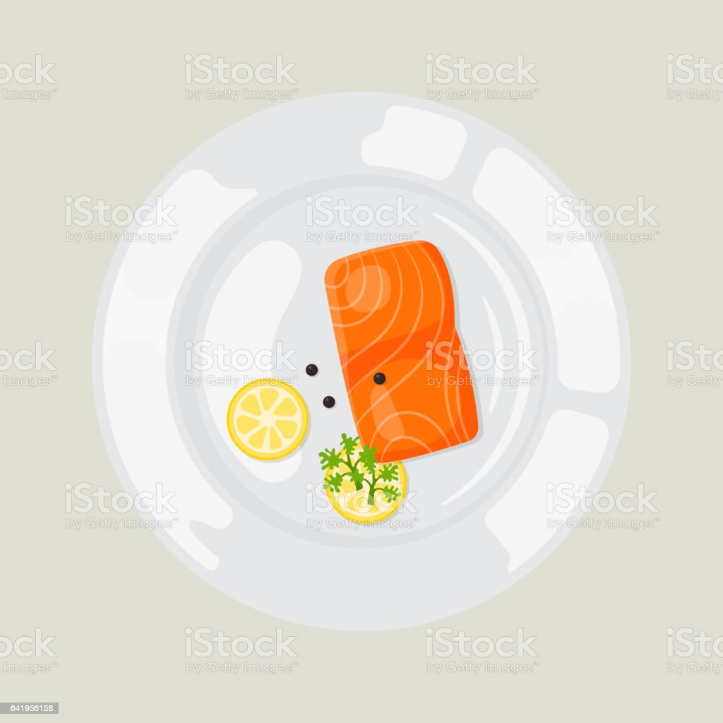 Salted red fish with lime slice vector on light background vector art illustration