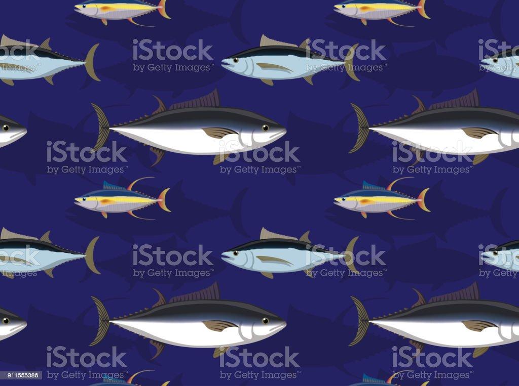 Saltwater Fish Tuna Cartoon Seamless Wallpaper vector art illustration