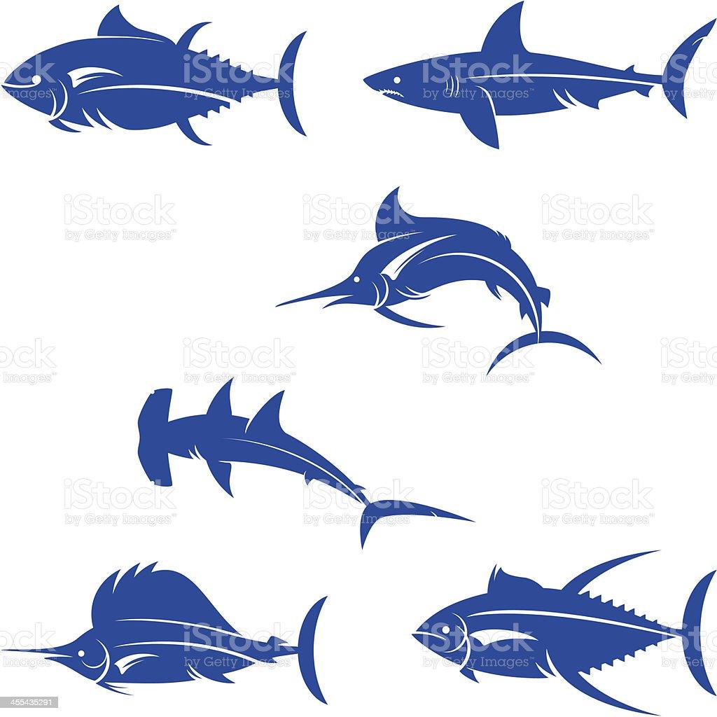 Famosos Silhueta De Peixes De água Salgada - Arte vetorial de stock e mais  CB43