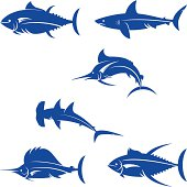 saltwater game fishes silhouette