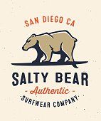 Salty bear surfing apparel graphic tee design
