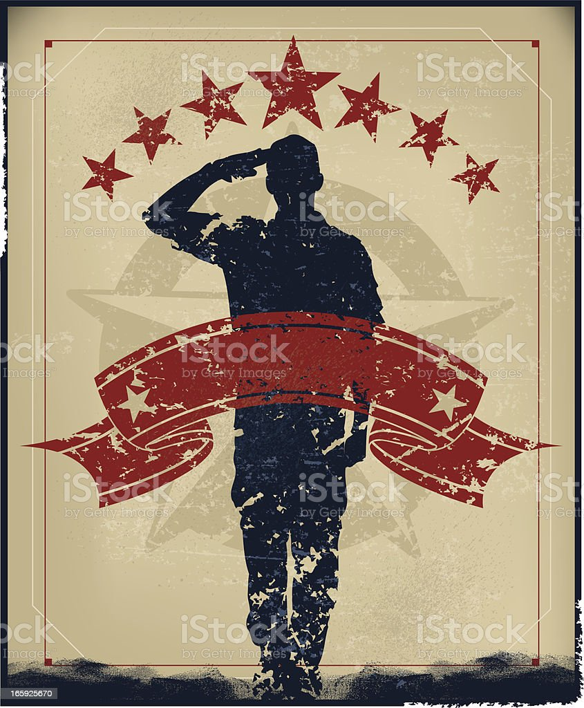 Salute Armed Forces - Military Soldier, Boy Scout Banner Background royalty-free stock vector art