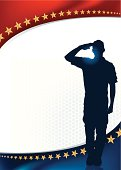 "Salute Holiday Background. Graphic silhouette background illustration of a Military Soldier or Boy Scout saluting. Check out my ""World War Two"" light box for more."