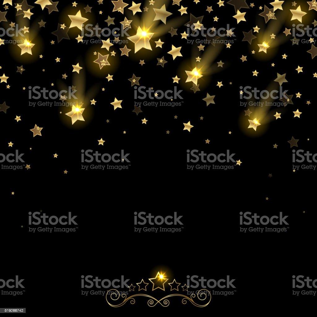 Salute of Golden Falling Stars vector art illustration