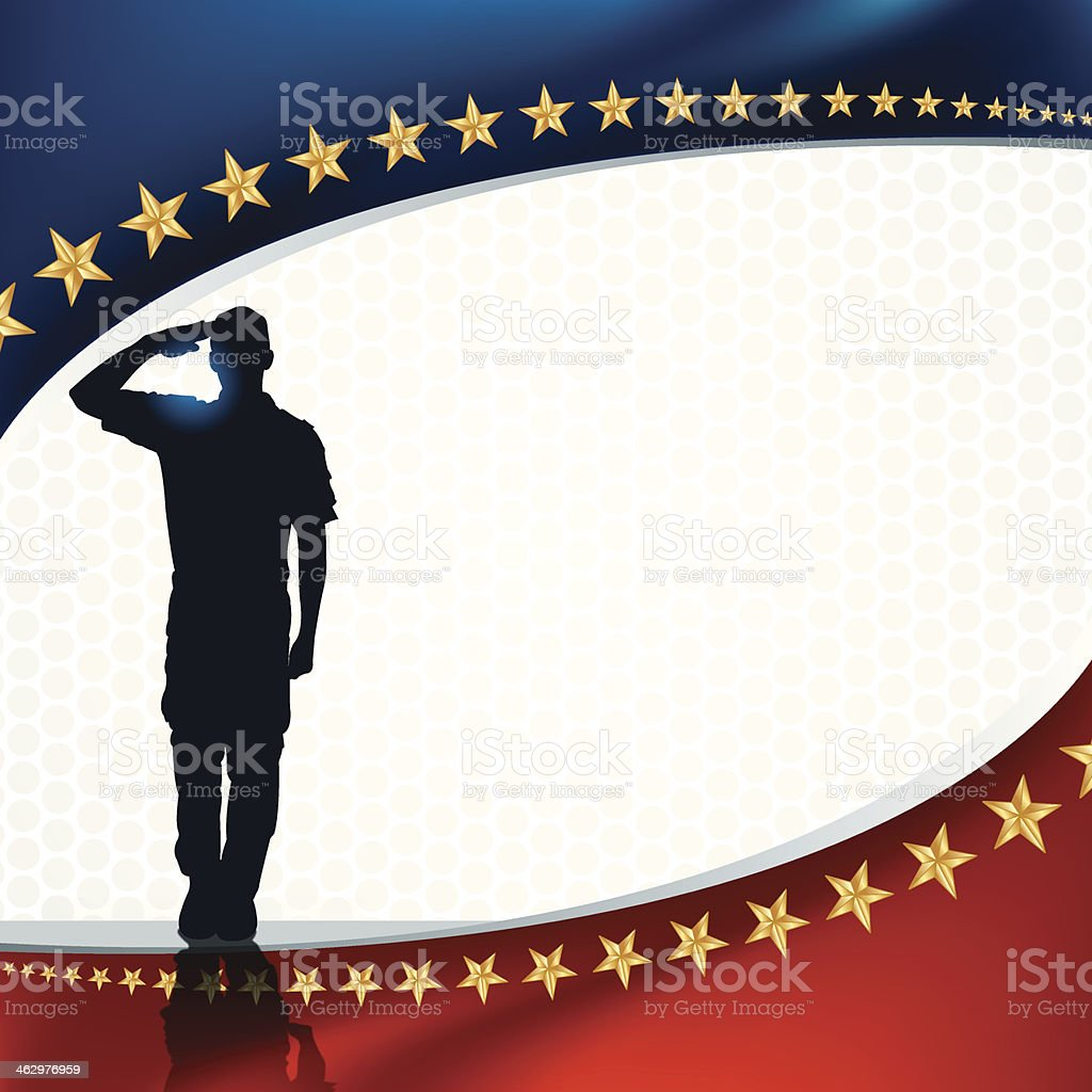 Salute - US Soldier or Boy Scout Patriotic Background vector art illustration