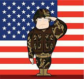 This is a vector illustration of soldier saluting in front of the US flag.