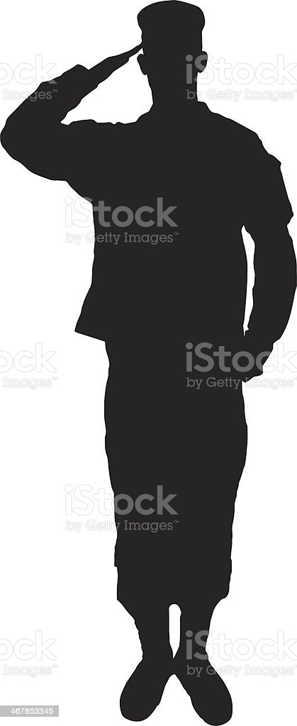 Saluting army soldier's silhouette on white vector art illustration
