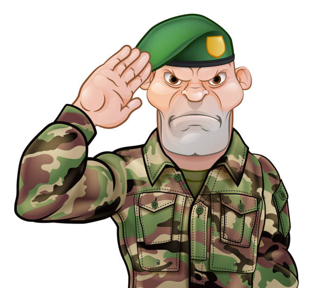 Saluting Soldier Cartoon A tough looking saluting soldier cartoon character wearing a green beret sergeant stock illustrations