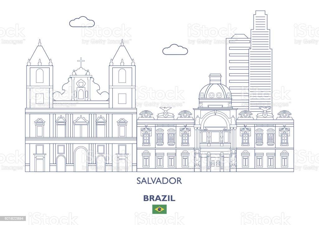 Skyline da cidade de Salvador, Brasil - ilustração de arte em vetor