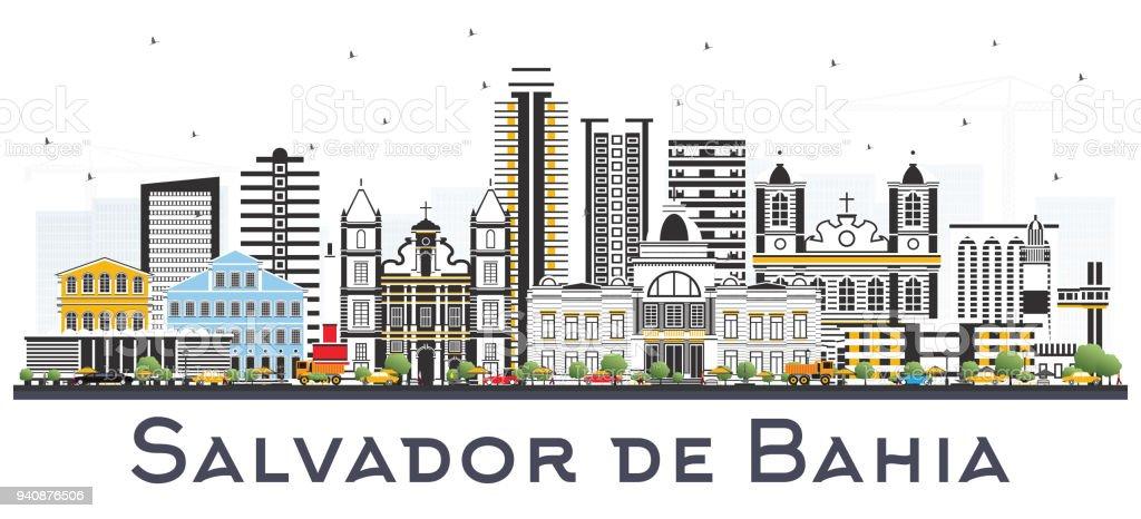 Salvador de Bahia City Skyline com edifícios de cor isolado no branco. - ilustração de arte em vetor