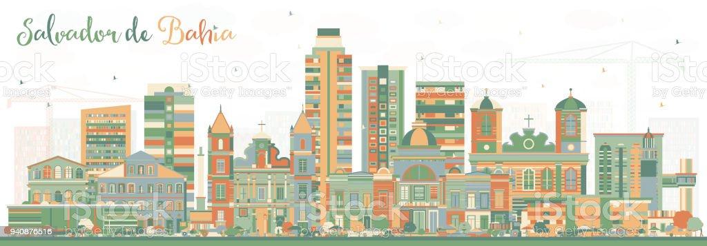 Salvador de Bahia City Skyline com edifícios de cor. - ilustração de arte em vetor