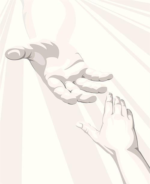 Salvation A heavenly hand reaches down through beams of light. god stock illustrations