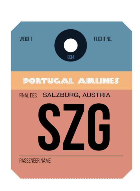 bildbanksillustrationer, clip art samt tecknat material och ikoner med salzburg flyg plats bagage tagg - salzburg