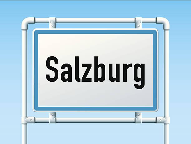 bildbanksillustrationer, clip art samt tecknat material och ikoner med salzburg austria city road sign - salzburg