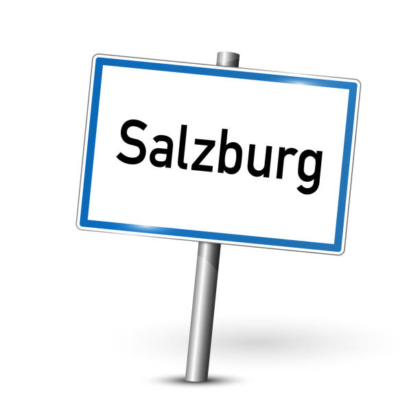 salzburg österreich schild - stadt straßenschild - beschilderung board - straßenschilder stock-grafiken, -clipart, -cartoons und -symbole