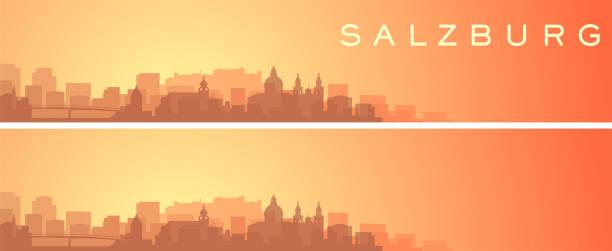 bildbanksillustrationer, clip art samt tecknat material och ikoner med salzburg vackra skyline scenery banner - salzburg