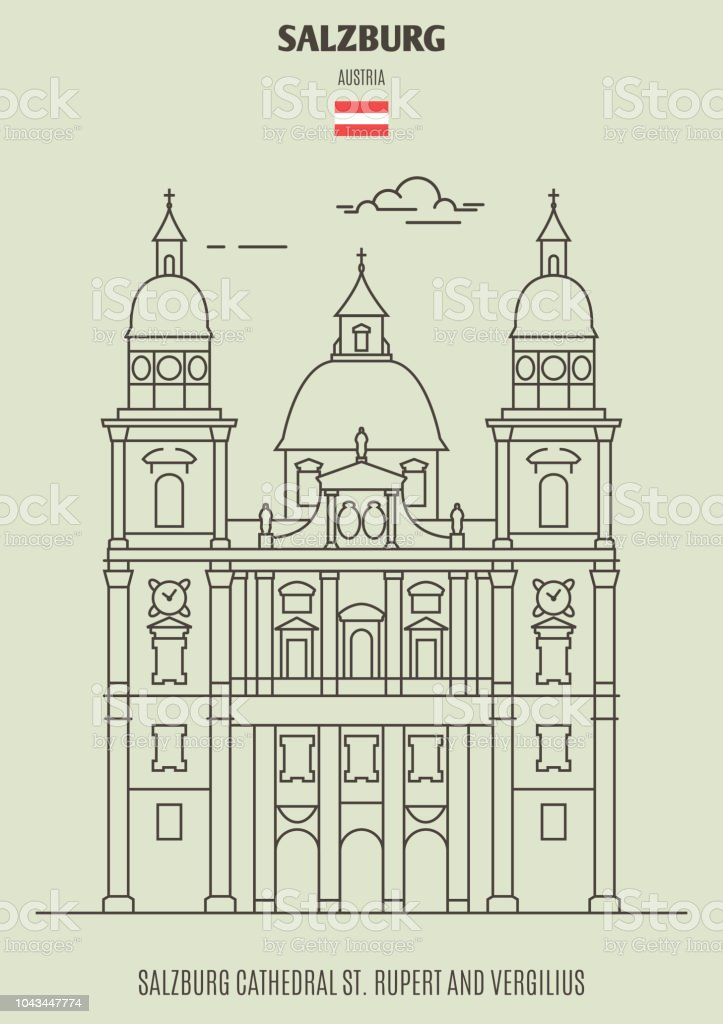 Salzburg Cathedral St. Rupert och Vergilius, Österrike. Landmärke-ikonen - Royaltyfri Arkitektur vektorgrafik