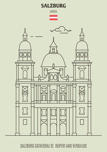 Salzburg Cathedral St Rupert Och Vergilius Österrike Landmärkeikonen-vektorgrafik och fler bilder på Arkitektur