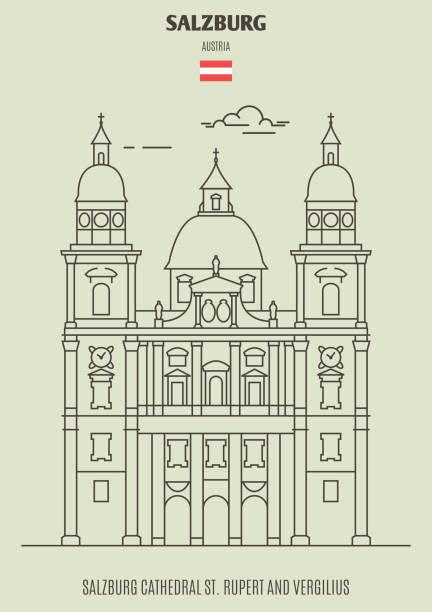 bildbanksillustrationer, clip art samt tecknat material och ikoner med salzburg cathedral st. rupert och vergilius, österrike. landmärke-ikonen - salzburg