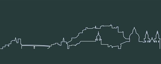 Salzburg Enkelrad Skyline-vektorgrafik och fler bilder på Banderoll