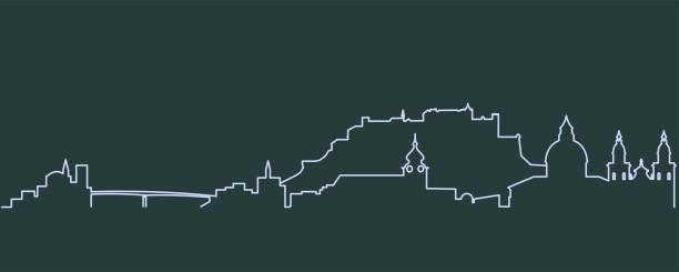 bildbanksillustrationer, clip art samt tecknat material och ikoner med salzburg enkelrad skyline - salzburg