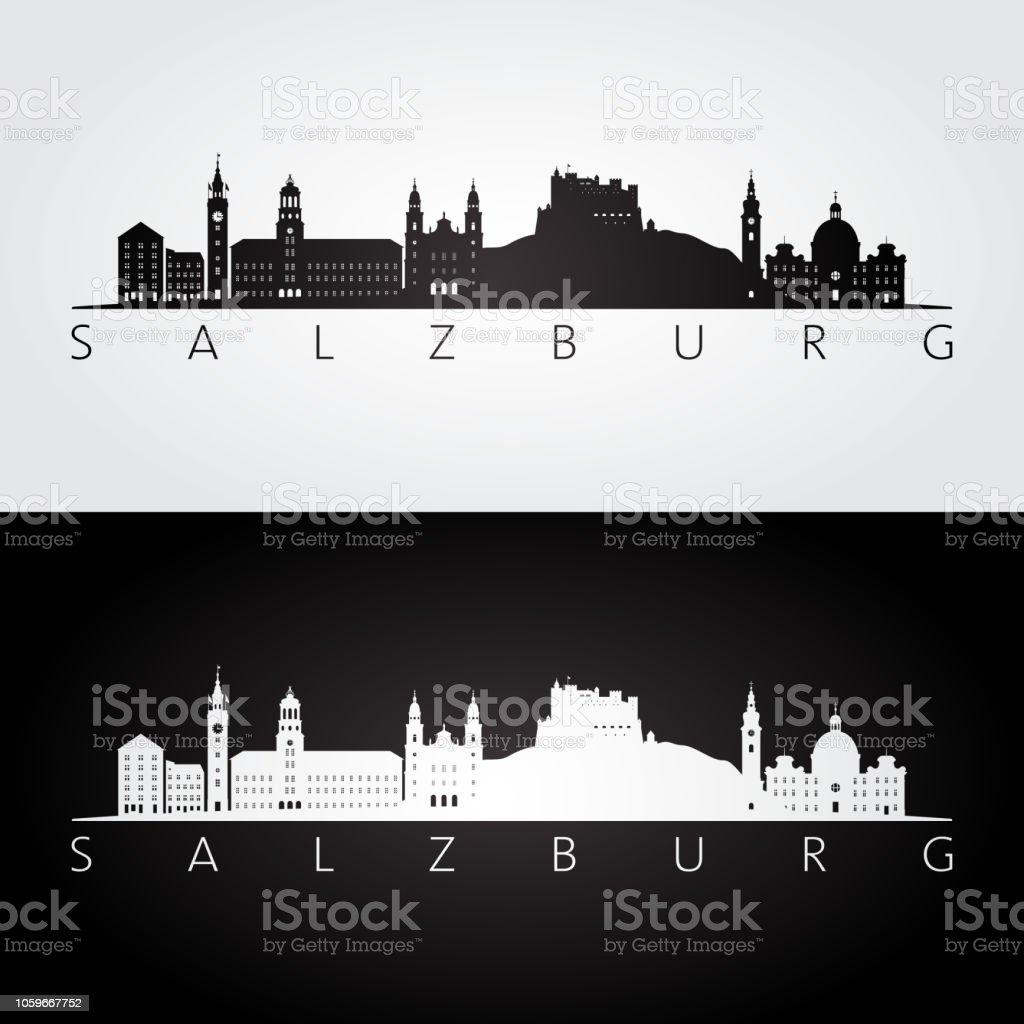 Salzburg skyline och sevärdheter siluett, svart och vit inredning, vektorillustration. - Royaltyfri Ankomst vektorgrafik