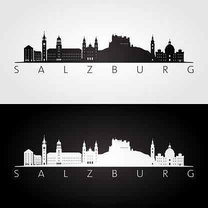 Salzburg Skyline Och Sevärdheter Siluett Svart Och Vit Inredning Vektorillustration-vektorgrafik och fler bilder på Ankomst