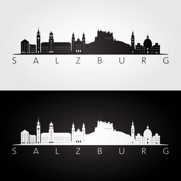 bildbanksillustrationer, clip art samt tecknat material och ikoner med salzburg skyline och sevärdheter siluett, svart och vit inredning, vektorillustration. - salzburg