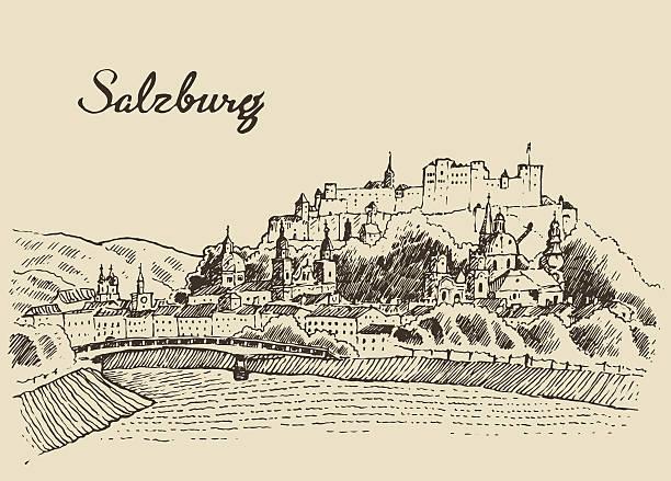 bildbanksillustrationer, clip art samt tecknat material och ikoner med salzburg skyline austria vintage hand drawn sketch - salzburg