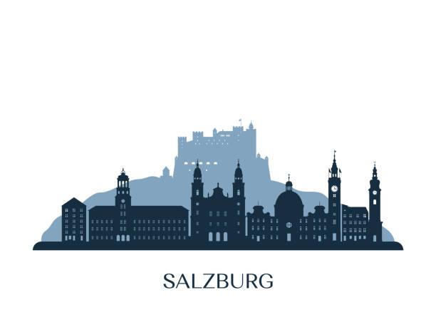 bildbanksillustrationer, clip art samt tecknat material och ikoner med salzburgs skyline, monokrom silhuett. vektorillustration. - salzburg