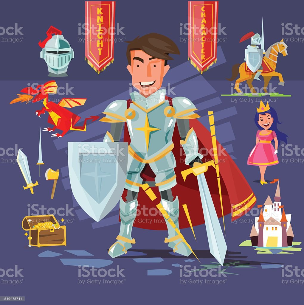 samart knight character with icon set.  - vector vector art illustration