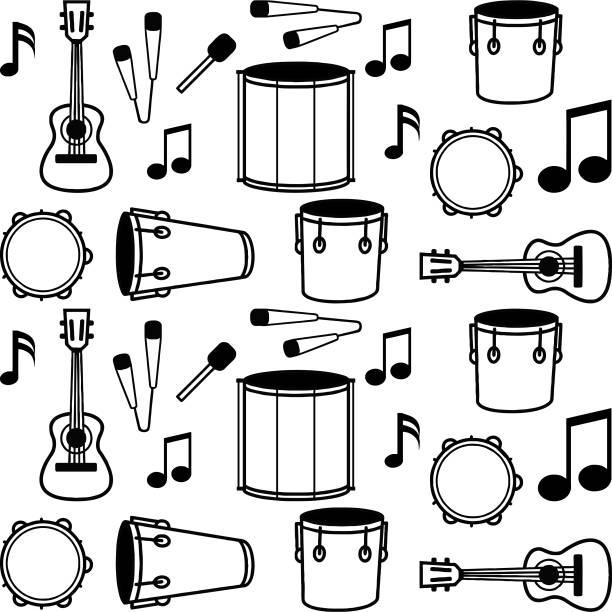 stockillustraties, clipart, cartoons en iconen met samba achtergrond - tamboerijn
