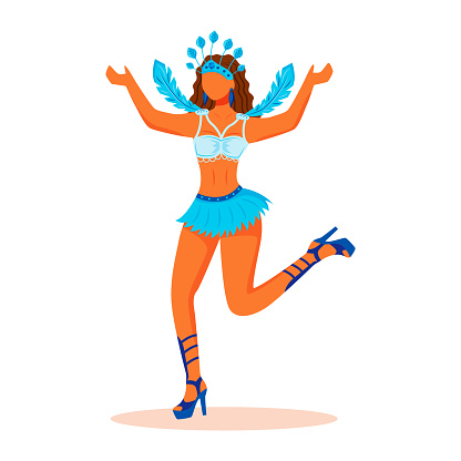 Samba dancer flat color vector faceless character. Lady in blue carnival clothing with plumage. Woman in top and short skirt isolated cartoon illustration for web graphic design and animation