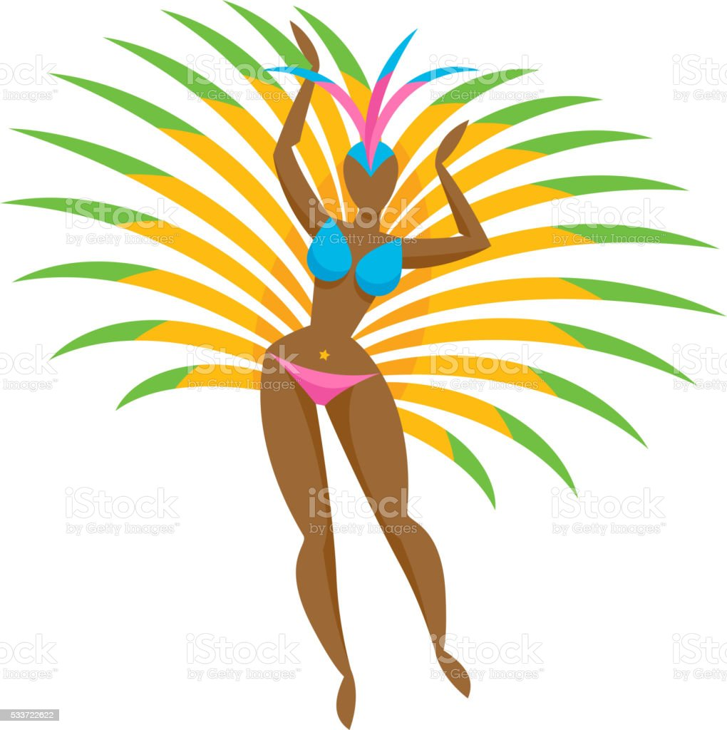 Samba dancer girl icon vector illustration vector art illustration