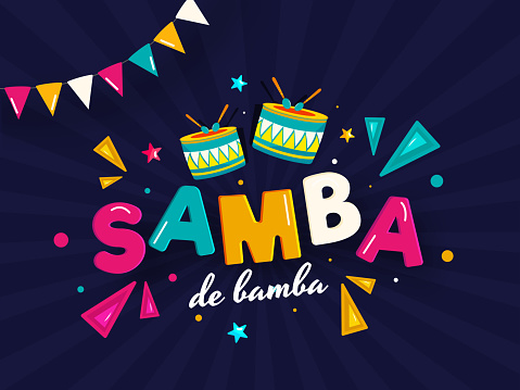 Samba De Bamba Text with Drum Instrument, Geometric Elements and Bunting Flag Decorated on Blue Rays Background for Brazil Music Concept.