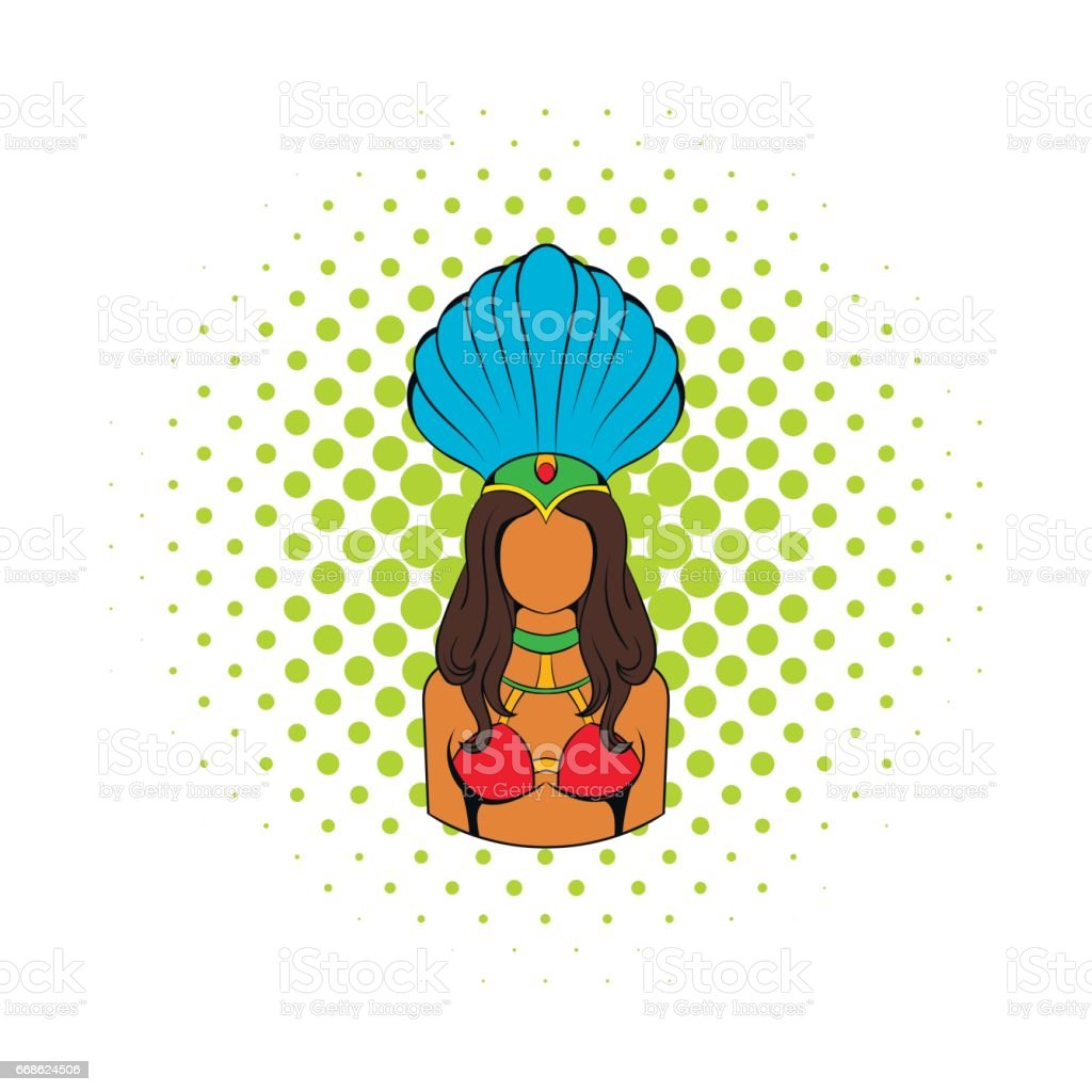 Samba girl icon in comics style vector art illustration