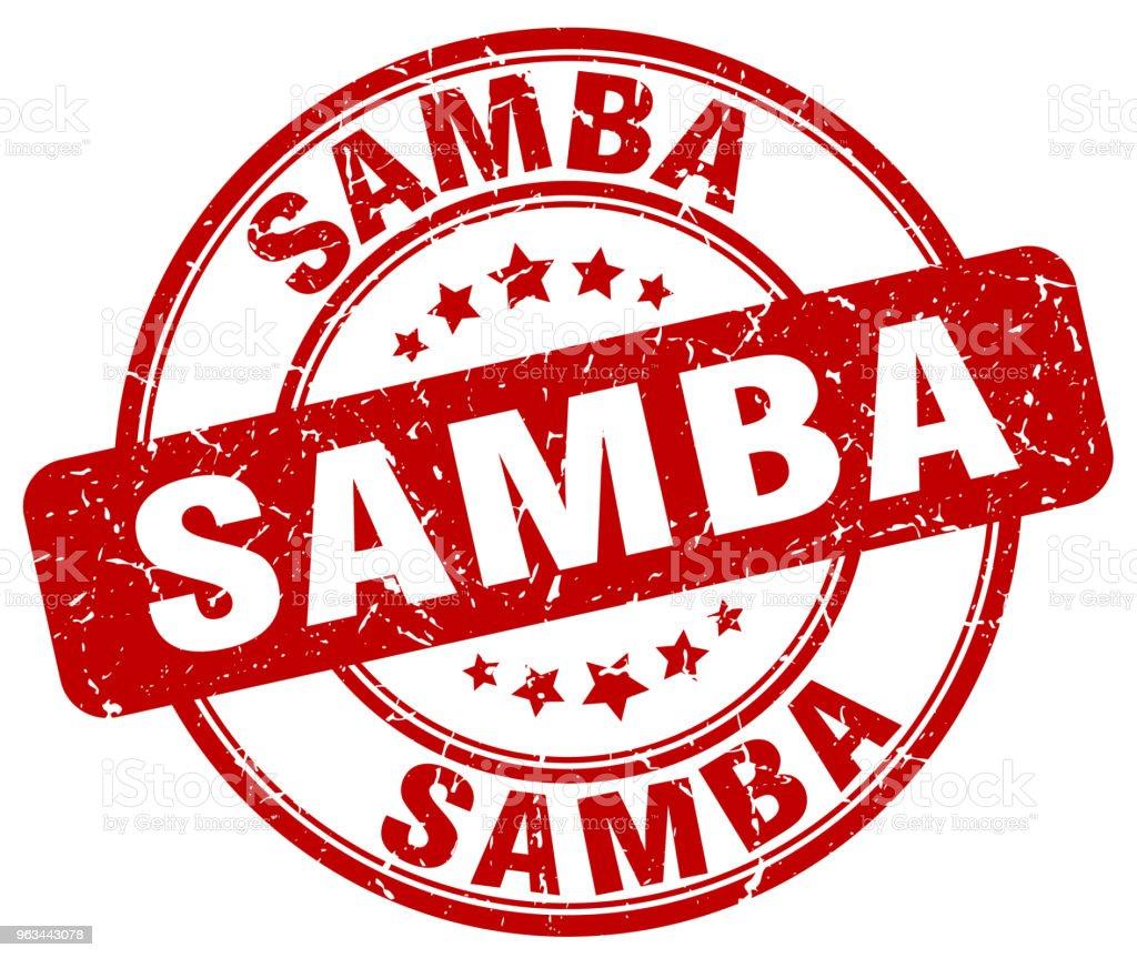 grunge samba rouge rond vintage rubber stamp - clipart vectoriel de Chili libre de droits