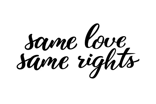 Same love same rights hand drawn lettering quote. Homosexuality slogan isolated on white. LGBT rights concept. Modern ink illustration for poster, placard, invitation card, t-shirt print design.