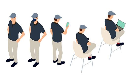 Same man in different poses illustration