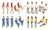 20 icons of isometric people include four characters, each in five different poses or angles, for storytelling in diagrams, charts, and other visual channels — especially those in which the same person would be shown more than once. Instances of the same characters are seen standing and sitting, with PPE/face masks, and with technology devices including mobile phones, tablets, and laptop computers. Characters include women and men of different ethnicities, including a healthcare worker or technician in scrubs, a man with a beard, a woman in business casual clothing, and a casual woman with flip flops and a t-shirt.
