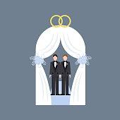 Same sex wedding on the gray background. Vector illustration