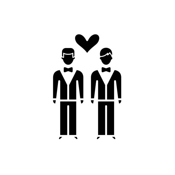 illustrazioni stock, clip art, cartoni animati e icone di tendenza di same-sex marriage black icon, vector sign on isolated background. same-sex marriage concept symbol, illustration - coppia gay