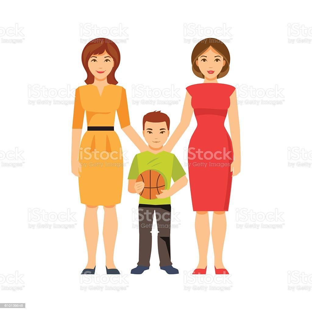 Same-sex parents. Vector illustration ベクターアートイラスト