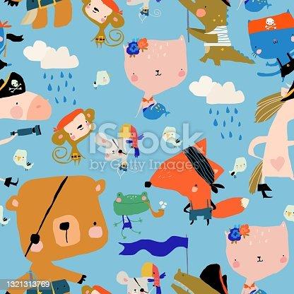 istock Samless Pattern with Cartoon Animals celebrating Pirate Party 1321313769